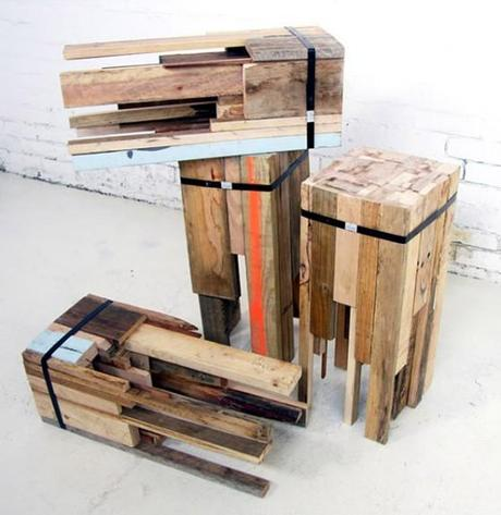 Recycling-Hocker aus Holzresten