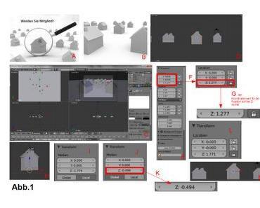 Das Ursprungshaus vergrößern, die Auswirkungen auf die Lage im Raum für den Bezugspunkt und die Flächen