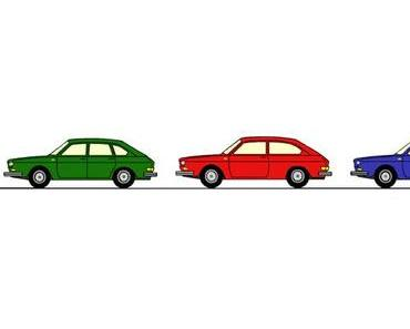 Cartoon und Comic von VW Käfer, Typ 4, T3 Bus Doka, T2 Bus und Buggy