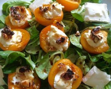 Gratinierte Aprikosen mit Ziegenfrischkäse, Walnüssen und Honig auf Feldsalat