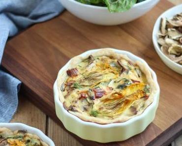 Mangold-Ricotta-Quiche mit Steinpilzen und Kürbisblüten oder Blattläuse zum Dinner