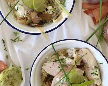 Lange Pasta mit Hähnchenbrustfilet und cremiger Limettensauce