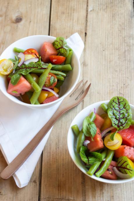 bohnen salat mit melone tomaten und minze oder rezepte. Black Bedroom Furniture Sets. Home Design Ideas