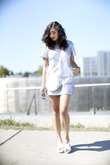 Motel Virgo Silver Dress Metallic Dress Silver and White Streetstyle Clarks Originals Shoes
