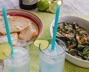 Feierabend-Cocktail und TAPAS: Lime Rickey, gegrillte Aubergine und Pimientos de Padrón