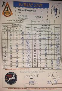 Scorecard Hunting Round
