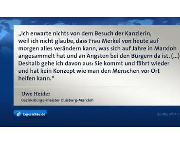 Fußballkrawalle: Angela Merkel fordert mehr Hooligans in der Polizei... (Die Kanzlerin zu Besuch in Duisburg-Marxloh)