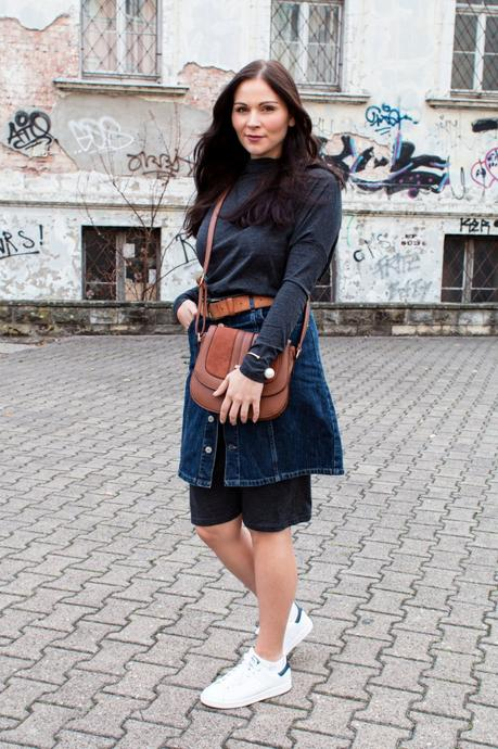 Kleidermaedchen Modeblog, erfurt, thueringen, berlin, fashionblogger, outfit, ootd, Modeblogger, Jeans Rock Hallhuber, Herbst Look, Adidas Stan Smith, Chloe Drew Lookalike, Kleid Nümph, Gürtel H&M, New Look Tasche, MAC Twig Lippenstift, ABOUT YOU