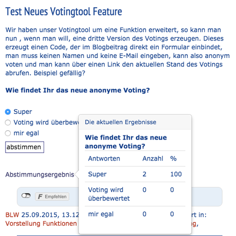 Update des Votingtools