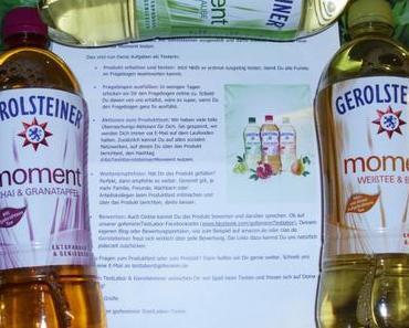 """Gerolsteiner """"MOMENT""""  fruchtig ~ mit aufgebrühten Teebättern & Fruchtsaft"""