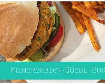 Kichererbsen-Rüebli-Burger mit Süsskartoffelpommes | Rezept