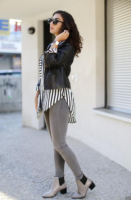 Grey Pointed Boots Monochrome Outfit Fashionblogger Striped Blouse Button Up shirt Oasap Leather Blouson McGregor Samieze Fashionblogger Modeblog Streetstyle