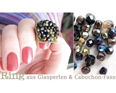 [diy] Ring aus Glasperlen und Cabochon-Fassung
