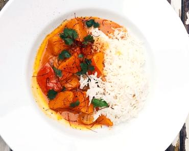 Halloween Curry - cremiges Kürbiscurry mit Reis