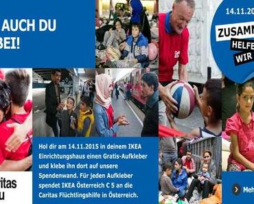 Aktion bei IKEA – mit Sticker Flüchtlinge unterstützen