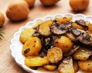 Einfaches Champignon-Erdäpfel-Gröstl