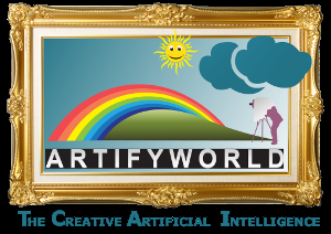 ArtifyWorld - Logo. ArtifyWorld - The Creative Artificial Intelligence. ArtifyWorld ...denn es ist DEINE Kunst. www.artifyworld.com