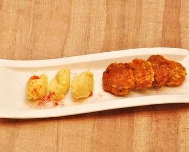 Karottenpuffer mit Mandel-Kartoffelpüree