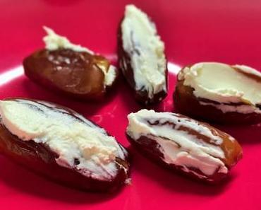 Besonderer Apéro oder Dessert-Genuss: Datteln mit Frischkäse