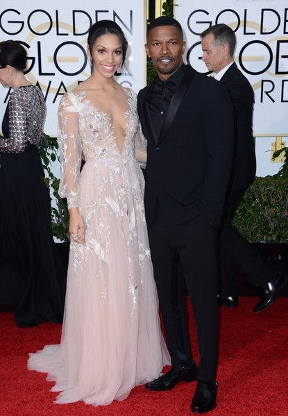 Miss Golden Globes 2016, Corinne Bishop & Jamie Foxx, Foto: picture alliance / abaca, Hahn Lionel
