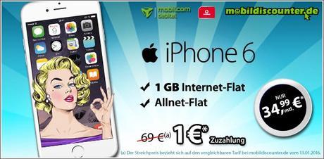 mobilfunk angebot apple iphone 6 mit allnet flat ab 1. Black Bedroom Furniture Sets. Home Design Ideas