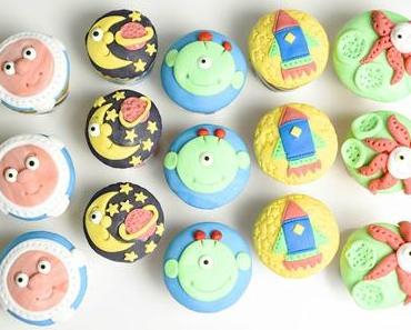 Weltall Muffins mit Nutellakern zur KITA Faschingsparty