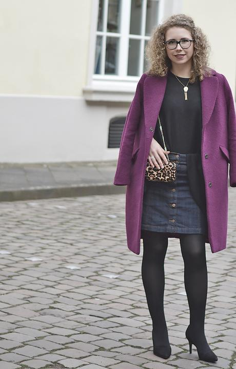 Outfit: Purple Coat, Denim Skirt and Leo Box Clutch