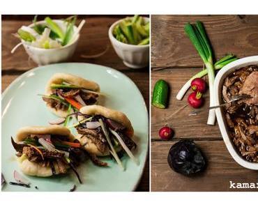 Pulled Ente mit knuspriger Haut im chinesischen Dampfbrötchen