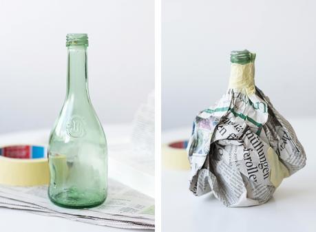 [Nachmachtipp] Pappmaché Vasen aus Flaschen und Buchseiten