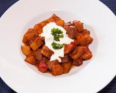 Roter Paprika-Seitangulasch  (lacto-vegetarisch)