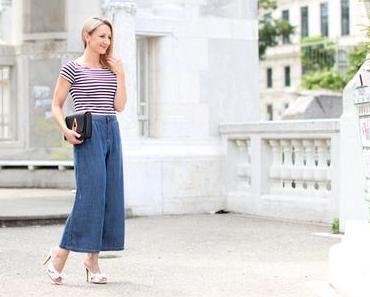Striped top & denim culottes