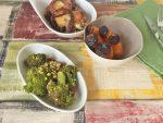 Hackfleischauflauf mit Zwiebelkruste, karamellisierten Möhren und Knusperbrokkoli