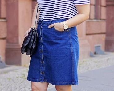 Denim Skirt & Lace Up Shoes