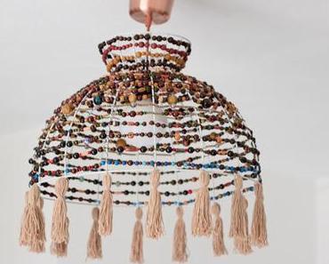 DIY   Boho Lampenschirm mit Holzperlen