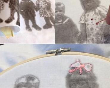 Im Stickrahmen verewigt: Hedi und Heinz -oder- Was ich mit meinem Lavendeldruck-Bild gemacht habe