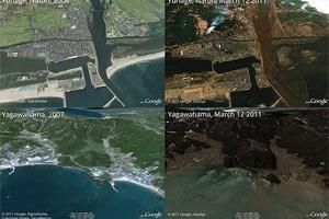 Katastrophe in Japan. Google Earth und Maps zeigen Vorher-Nachher Bilder.