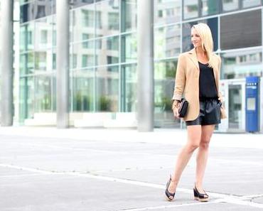 Leather shorts & blazer