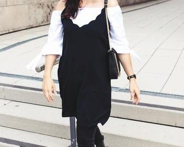 Outfit mit Slip Dress, Off-Shoulder Bluse und LLOYD Stiefeletten