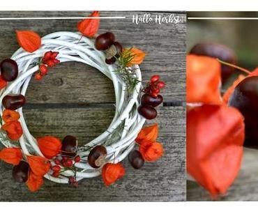 DiY Herbstkranz mit Physalis und Kräutern