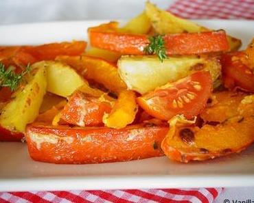 Kürbis und Kartoffeln vom Blech
