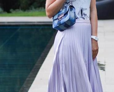 Outfit: Metallic Pleated Skirt, Marble Shirt, Silver Mules and Michael Kors