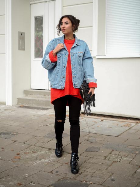 Red oversize sweater for Jeansjacke oversize damen