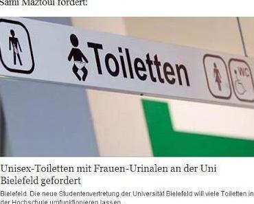 Genderwahn an der Uni-Bielefeld: Frauen sollen sich mit Männern die Toilette teilen und künftig im Stehen urinieren