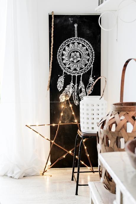 Weihnachtsschmuck im Bohostyle selbermachen, Mandala meets Baumscheibe, DIY Wandschmuck für Weihnachten, Federn und Sterne am Traumfänger, Christmas meets Boho, Auf Tafellack mit Kreidefarbe einen Traumfänger auf eine Schaltafel malen,