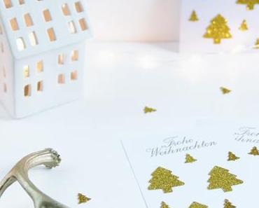 Weihnachtskarten 2016 - mit Glitzertannen und Weihnachtsgruss