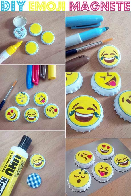 diy emoji magnete aus kronkorken. Black Bedroom Furniture Sets. Home Design Ideas