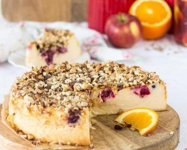 Cranberry-Käsekuchen mit Kandis-Crunch & Apfel-Orangen-Cranberrypunsch mit Diamant (Werbung)
