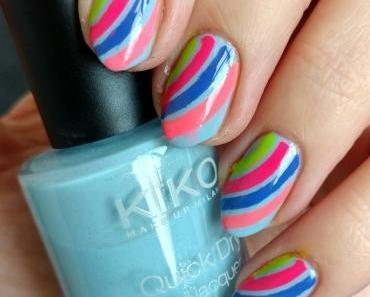 [Nails] NailArt-Dienstag: REGENBOGEN mit KIKO Quick Dry 849 PEARLY ANTIQUE BLUE
