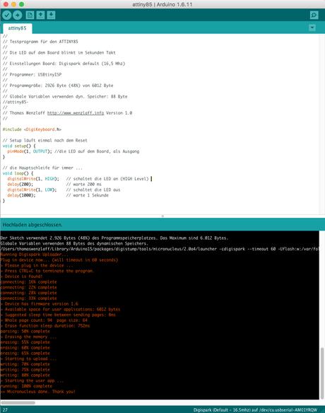C-Testprogramm für den ATTINY85 (Digispark) mit der Arduino IDE hochladen und Ergebnis Video
