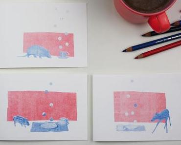 Erste Handlettering Versuche auf schön illustrierten Grußkarten